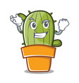 successful cute cactus character cartoon vector image vector image