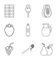 sweet snack icons set outline style vector image vector image