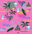 synth wave tropical seamless pattern futuristic vector image vector image