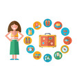 the girl collects suitcase on vacation vector image