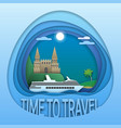 time to travel emblem design cruise ship at sea vector image vector image