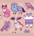 tribal forest animals in cartoon style vector image