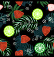 tropical leaves with strawberry seamless pattern vector image vector image