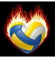 volleyball on fire in shape heart vector image vector image