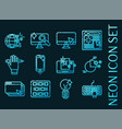 web design set icons blue glowing neon style vector image vector image