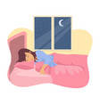 woman sleeping in her bed vector image