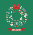 wreath shaped merry christmas card vector image vector image