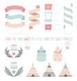 Set of cute ribbons labels droplet vector image
