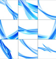 Abstract background set Blue waves on light vector image vector image
