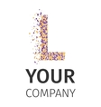 Alphabet particles logotype Letter-L vector image