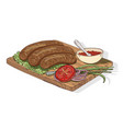 appetizing kebab served with ajika sauce and vector image