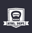 athletic department emblem sign with kettlebell vector image vector image