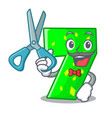 barber character paper cut number seven letter vector image vector image