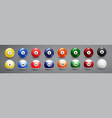 billiard pool balls collection snooker vector image vector image