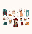 bohemian fashion style set boho and gypsy clothes vector image vector image