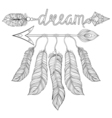Boho chic ethnic dream Arrow with feathers dream vector image vector image