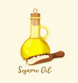 bottle with golden sesame oil and seeds in spoon vector image vector image