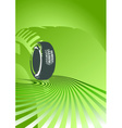 Brand new tire on a green background vector image vector image