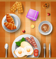 breakfast with eggs bacon bread and cup of coffe vector image vector image