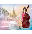 Christmas Street Performer in a Snowy Paris vector image vector image