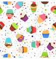colorful pattern with sweet cupcakes vector image vector image