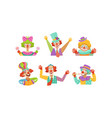 cute funny clowns collection cheerful circus vector image