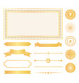 decorative frames gold water marks and ribbons vector image vector image