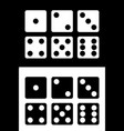 dice icons set white and black background vector image