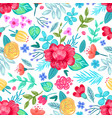 drawn flowers seamless pattern vector image vector image