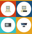 flat icon laptop set of vintage hardware computer vector image