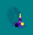 flat on background of christmas ball champagne vector image vector image