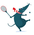 funny rat or mouse plays tennis vector image vector image