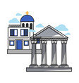 greek modern and ancient architecture samples vector image