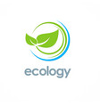 green leaf ecology logo vector image vector image