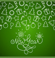 hand lettering new year charcoal card on green vector image