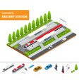 isometric infographic element railway vector image vector image