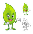 Leaf Mascot with Present Hand vector image vector image