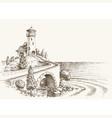 lighthouse landscape sea shore pencil drawing vector image
