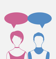 man and woman with dialog speech bubbles isolated vector image vector image