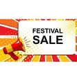 Megaphone with FESTIVAL SALE announcement Flat vector image vector image
