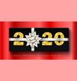 merry christmas card 3d gift box ribbon bow vector image vector image