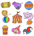 object set circus doodle style vector image vector image