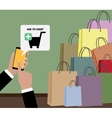 Online shopping concept using mobile devices vector image vector image
