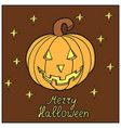 pumpkin with stars merry halloween vector image vector image