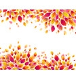 red autumn fall leaves frame on white vector image