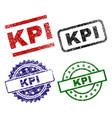 scratched textured kpi stamp seals vector image