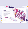 seo optimization isometric concept banner vector image vector image