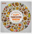 set happy thanksgiving cartoon doodle objects vector image vector image