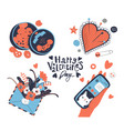 set happy valentines day theme icons heart vector image