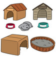 set of dog house vector image